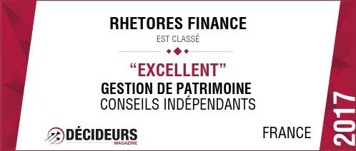 RHETORES FINANCE PROGRESSE UNE NOUVELLE FOIS AU CLASSEMENT DES MEILLEURS CONSEILLERS EN GESTION DE PATRIMOINE SITUES A PARIS