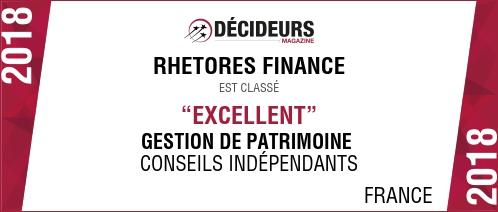 Le magazine DECIDEURS classe RHETORES FINANCE parmi les meilleurs Conseillers en Gestion de Patrimoine situés en Ile de France