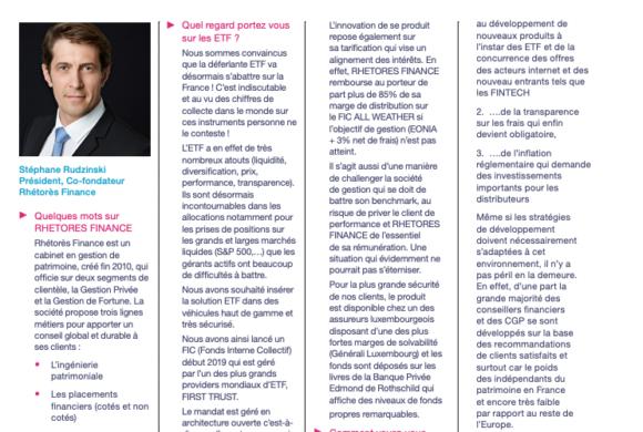 Interview de Stéphane Rudzinski dans le dernier numéro du magazine Lyxor ETF